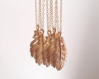 Gold Feather Necklace, Gold Filled Chain, Silver Available