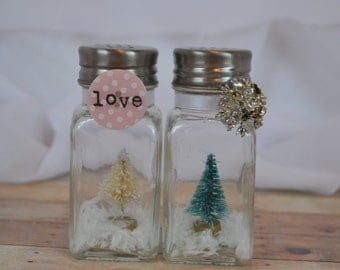 Handmade OOAK Salt and pepper shaker set of miniature vintage bottle brush trees (white and green) with faux snow and LOVE buttons/ribbon