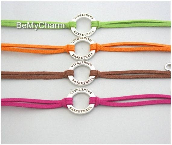 Basketball Charm Bracelet: Basketball Charm Bracelet Infinity Circle Bracelet Team Gift