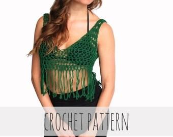 PATTERN for Crochet Bralette Tank Top Festival Hippie Boho Fringe // Festival Fringe Bralette PATTERN