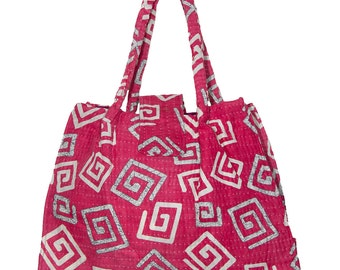 KANTHA Bag - Small - Pinky red with off white design