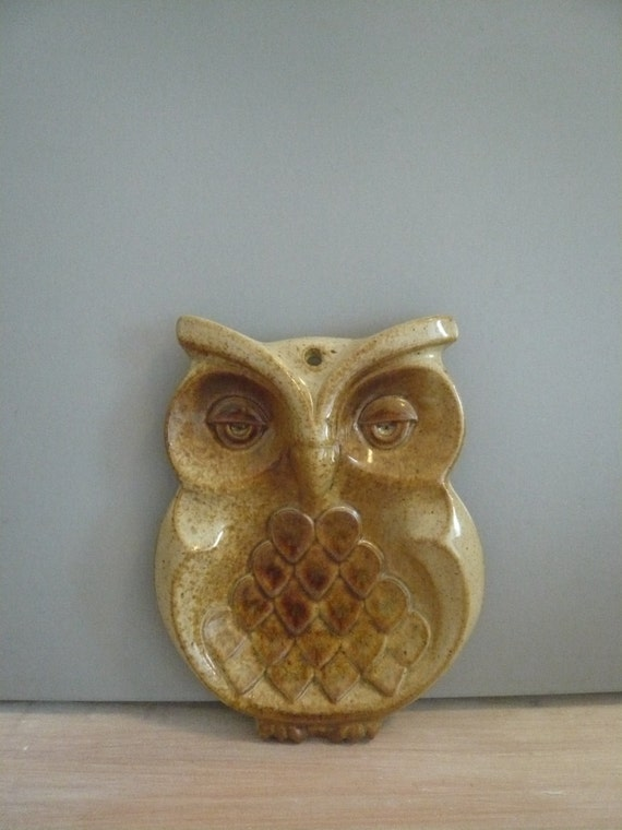 Stoneware Pottery Ceramic Owl Wall Decor Spoon Rest