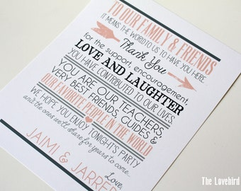 Wedding Thank You Sign - Thank You - Printable Thank You Sign - To our Family and Friends - PDF - DIY AA4