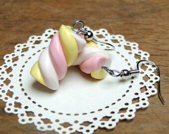 Marshmallow Earrings - Fimo Food