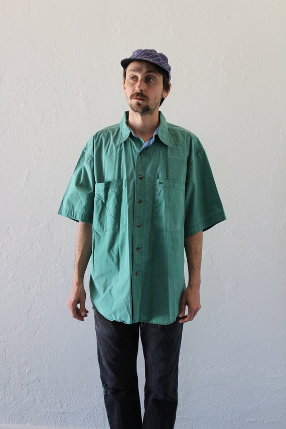 Faded teal oversized button up shirt mens large by for Mens teal button down shirt