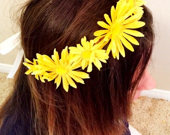 Yellow daisy edc coachella headband