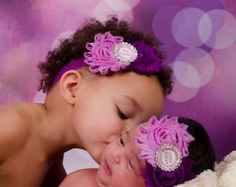 Baby Headband, Matching Sister Headbands, Purple Headband, Sisters Hairbows, Big Sister Headband, Little Sister Headband, sister set