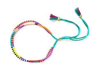 Colorful Beaded Friendship Bracelet - Adjustable Bracelet - Turquoise Cord Bracelet - Stackable Bracelet - Tribal Bracelet - Hippie Bracelet