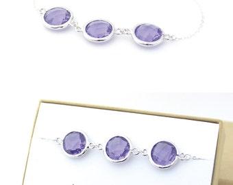 Amethyst Purple / Silver Triple Circle Bracelet - Bridesmaid Gift - Purple Jewelry - Bridesmaid Bracelet - Wedding Jewelry - BB3