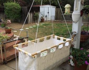 Urban Indoor / Outdoor Hanging Cradle, Hanging Bassinet, Hanging Crib, Swinging Baby Bed, Free Motion Infant Cot, Canvas Indoor Outdoor Crib