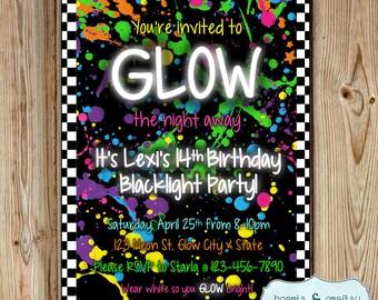 Glow In The Dark Party Invitation / Neon Birthday Invitation / Blacklight Party Invitation / Glow Party Invite DIGITAL FILE to PRINT