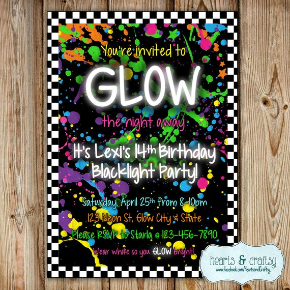 glow in the dark party invitation / neon by heartsandcraftsy, Party invitations