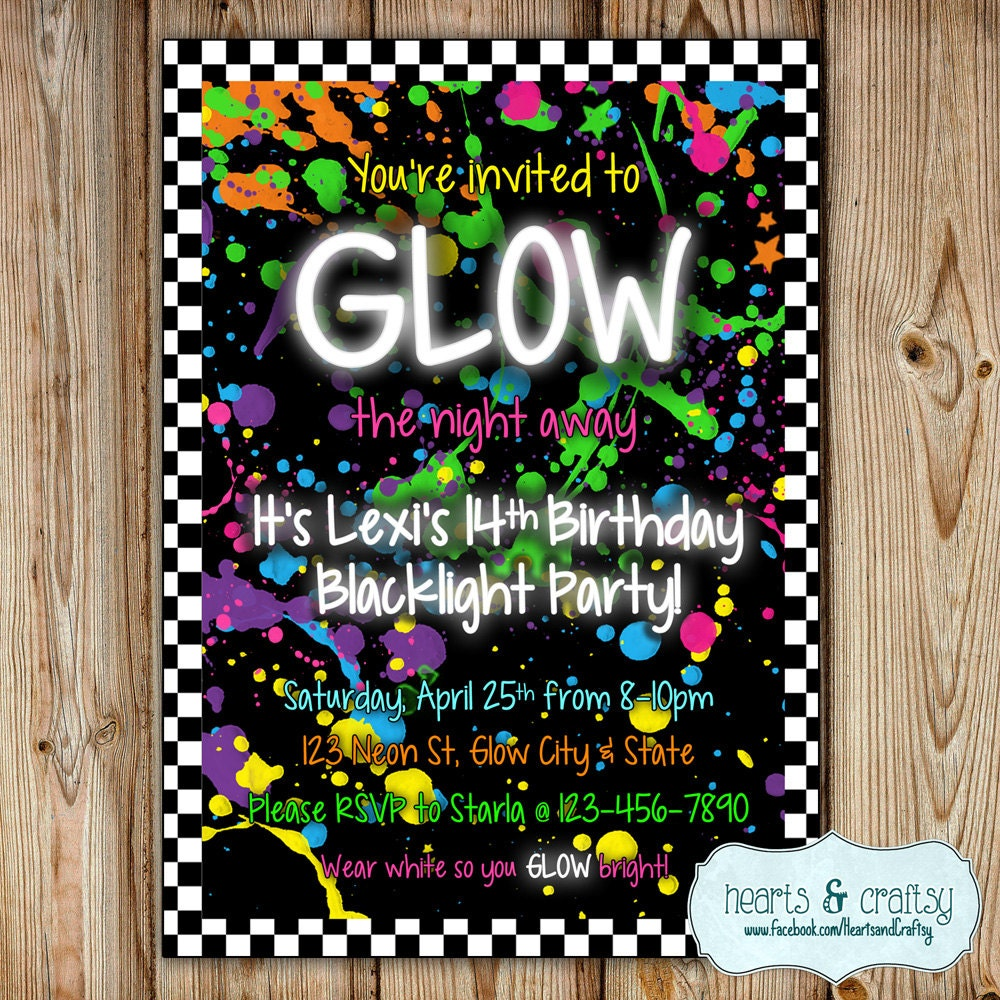 Glow In The Dark Party Invitation Neon Birthday Invitation – Glow Party Invites