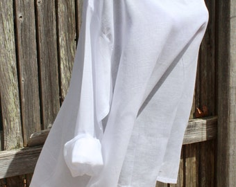 100% Cotton Sheer White Freedom Top/Tunic/Beach Cover Up
