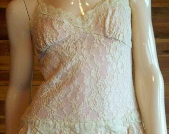 Vintage Lingerie 1970s Mauve Lace PEEP STUDIO Camisole Large