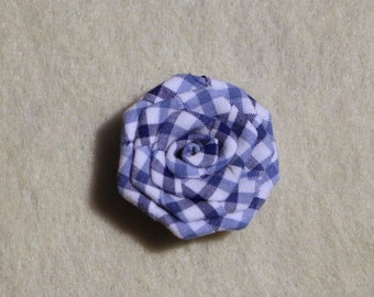 Lapel flower pin - Gingham blue, lapel flowers, mens lapel flower pin, lapel flower for men, mens button lapel flower, mens flower lapel