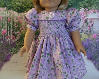 Smocked Spring Floral Dress fits American Girl Doll and 18 inch dolls