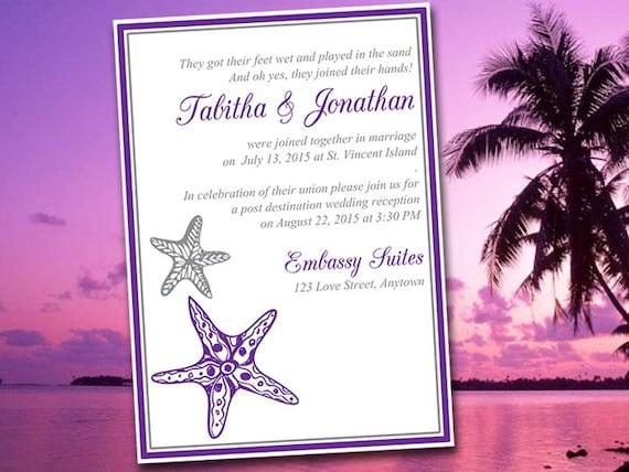 Reception Invitation Wording After Destination Wedding: Beach Wedding Reception Invitation Template Blissful