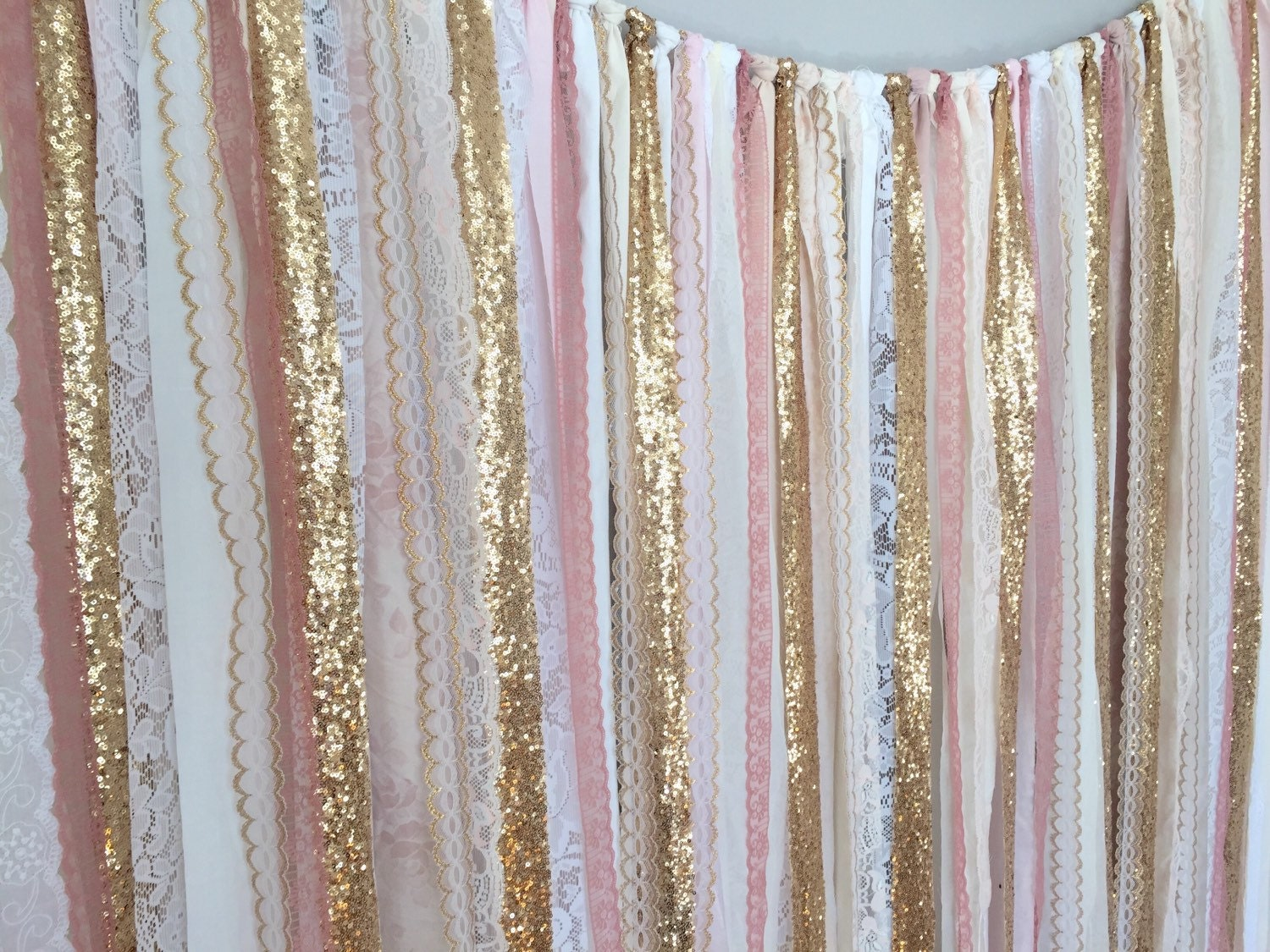 Pink Gold Sparkle Sequin Fabric Backdrop With By Ohmycharley