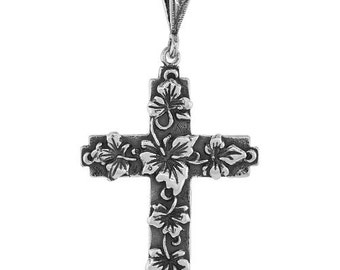 Sterling Silver Rose of Sharon Cross, 1 5/8 inch long