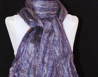 Merino Wool Silk Blend Cobweb Felted Scarf - Ashland Bay Concord (70/30 merino silk)