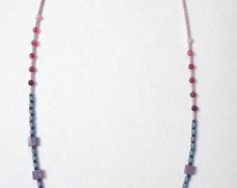 Beaded Gemstone Necklace in Pinks, Blues & Purple