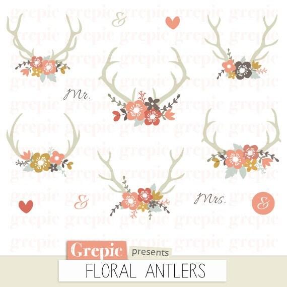 Floral Antlers Rustic Wedding Clipart Antler Clip Art