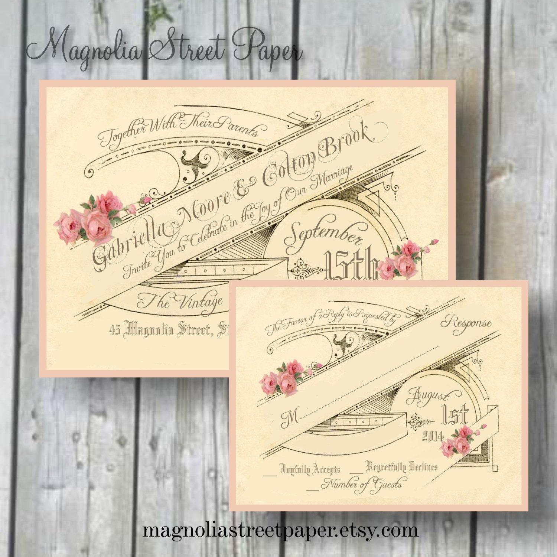 French Vintage Wedding Invitations: Printable Wedding Invitation Vintage French By