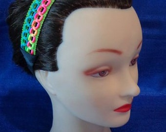 Lime Pink and Blue Colorful Headband