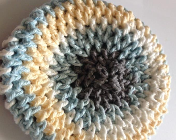 blue, yellow white & grey crochet cap size 3 months