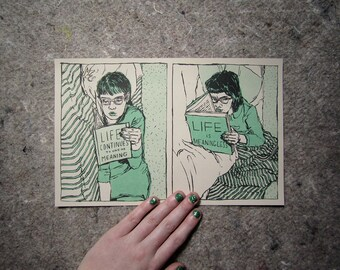 Morose Reads 2-Color Risograph Art Print