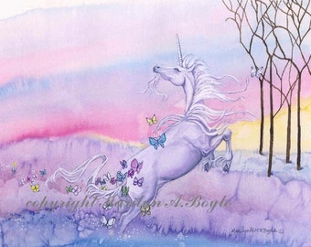 SET of UNICORN CARDS; four different cards approximately 4 x 5 with envelopes, art, fantasy, blank cards