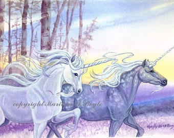 PRINT - FANTASY - UNICORNS; pair of unicorns, white and dapple grey; running, forest, sunrise.