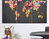 Canvas Print Colorful WORLD MAP Dark Gray Background  - Watercolor World Map 3 Piece Canvas Art Print - Colorful Mix World Map