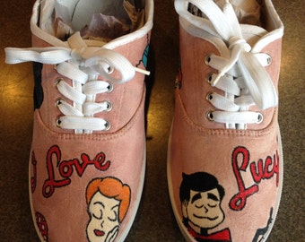 """Custom painted """"I Love Lucy"""" shoes with mauve background, logo, stick figures, silhouette"""