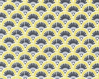 Michael Miller Fabric Fannie in Citron and Gray