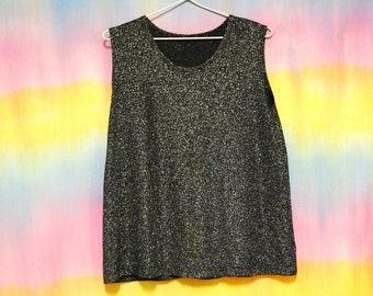 70s Vintage Black Silver Metallic Top Retro Tee Disco Singlet Tank Sleeveless T Shirt Vtg 1990s Size M-L