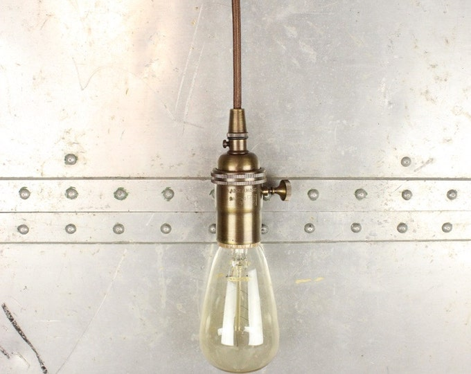 Free Shipping! Industrial Pendant Light Antique Brass Bare Bulb Socket Edison Bulb Plug In or Canopy Rayon Cloth Covered Black Brown Wire