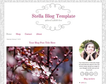 Premade Blogger Template - Grey Damask Blog Design - Stella