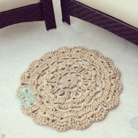 Crochet Kitchen Rugs: Round Flower Chunky Doily Jute Rug 31 Jute Doily By