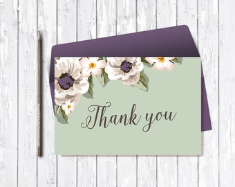 Floral Thank You Card Printable, Mint Thank You Card, Anemone Printable Thank you Note, Wedding Thank you Card, Baby Shower Thank you Card