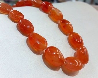 """Carnelian Tumbled Smooth Approx. 10x12-14mm, 14""""L"""