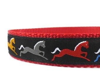 Horses on Black collar /equestrian dog collar