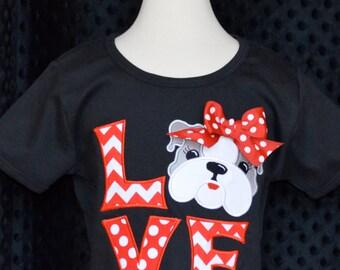 Personalized LOVE Bulldog Football Applique Shirt or Onesie