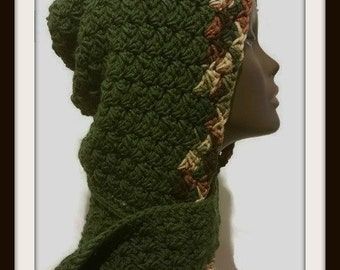 Hooded Scarf , Crochet Cowl , Crochet Scarf , Crochet Hooded Scarf , Hooded Cowl , Hooded Crochet Cowl  / Green with Earth Tone Boarder /