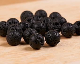 10 mm Black lava rock beads • Lava stone beads •Black volcano stone beads •Natural lava rock beads •Organic black lava stone•Black lava rock