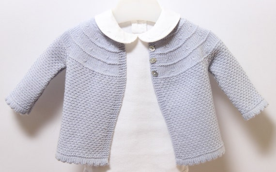 Baby Jacket / Knitting Pattern Instructions in English / PDF Instant Download / 3 Sizes : 3 / 6 and 9 months