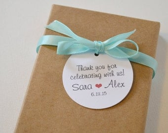 Thank You White Matte Round Label Tags - Custom Wedding Favor & Gift Tags - Choice of Colors - Thank you for celebrating with us