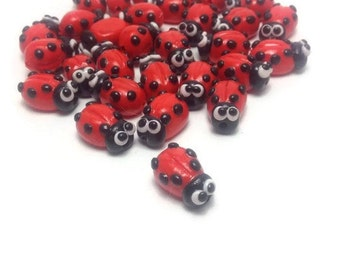 Red Beads, Ladybug, Handmade Beads, Craft Supplies, Jewelry Making, Jewelry Charms, Easter, Jewelry Making, Pack of 20 and/or 40.