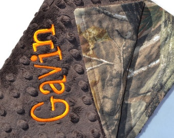 Baby Boy Blanket Real Tree Camo Camoflauge with Brown Minky Dot, Personalized Custom Embroidery Monogramming